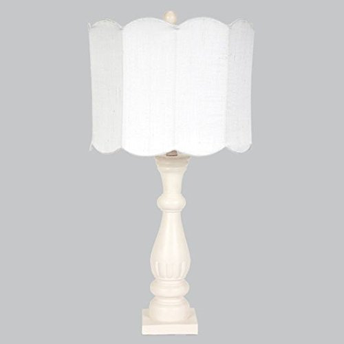 Jubilee Collection L71890P-4802 Pink Shabby Chic Lamp Base with White Double Scallop Drum Shade