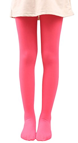 [X&F Girls' Solid Stretch Opaque Footed Tights Spring Basic Dance Leggings XL, Watermelon Red] (Red Dancing Girl Emoji Costume)