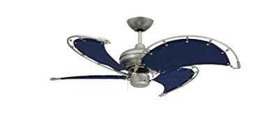 """TroposAir Voyage 40"""" Brushed Nickel Indoor/Outdoor Ceiling Fan with Blue Fabric Blade"""