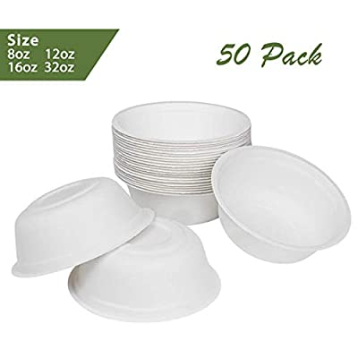 ZenCo Bagasse Round Plates - White Disposable Natural Sugarcane Heat Resistant Eco Friendly Paper Alternative Plates