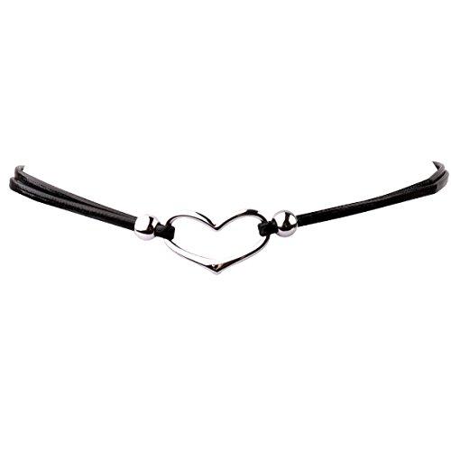REEBOOO Black Choker Necklace Sparkly Crystal Choker Necklace For Women Jewelry (Choker-Heart)