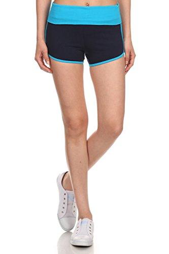 - MOPAS Yoga Shorts with Fold Over Solid Waistband Medium