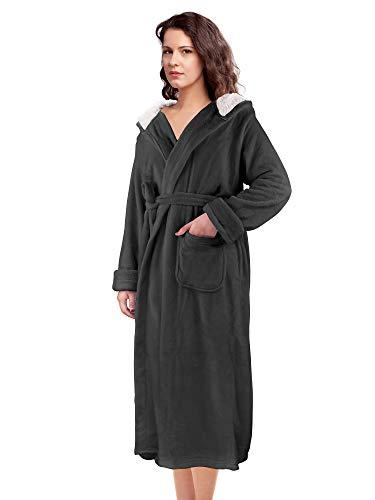 Women's Long Robe Plush Fleece Hooded Bathrobe Soft Spa Wrap Robe Dressing Gown Black ()