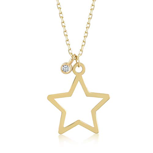 Gelin 14k Yellow Gold 0,01 ct Diamond Star Pendant Necklace for Women, A Perfect Surprise Gift for Her, 18 inch