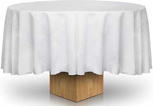 Round Table Cloth - 120 Inch - White Color - With Hemmed Corners - Resistant To Creasing - By Utopia Kitchen