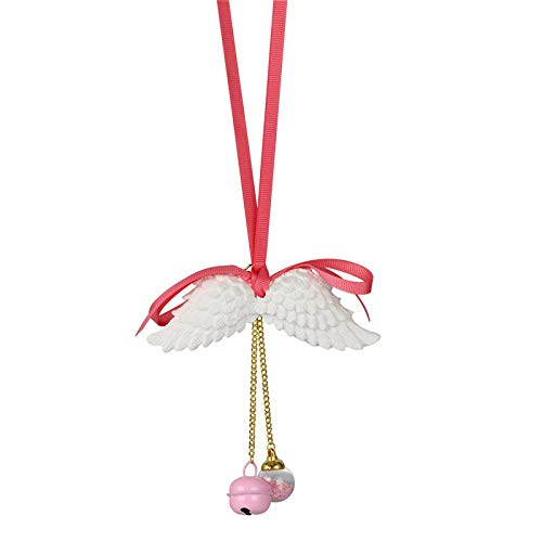 (Car Pendant Angel Wings Aromatherapy Automobile Rearview Mirror Decoration Ornaments Trim Gypsum Wings Ribbon Accessories Gift Pink with Bells)