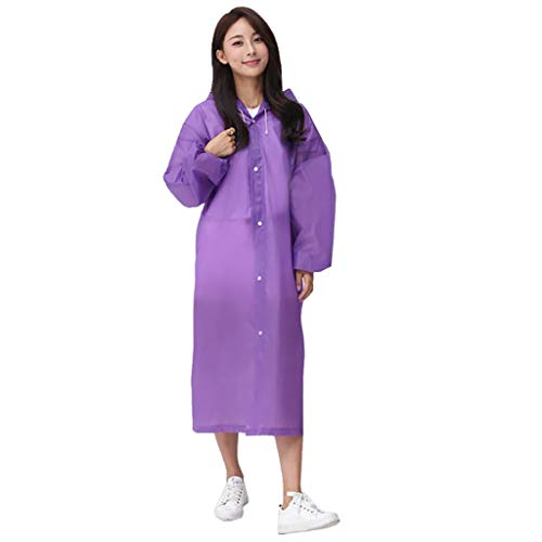 LRWEY Reusable Transparent Raincoat Clear Rain Coat with Hood and Sleeves Portable Emergency Poncho Waterproof Rainwear…