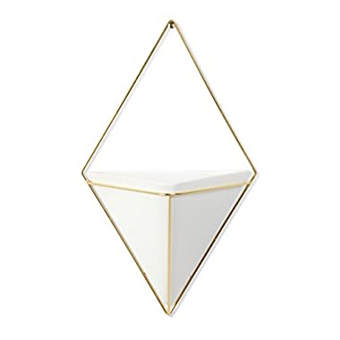 Umbra Trigg Hanging Container, Large, White/Brass