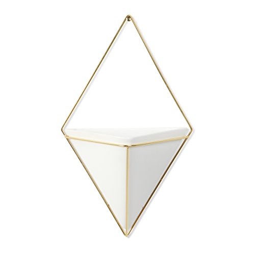 Design Wall Planter - Umbra Trigg Hanging Planter Vase & Geometric Wall Decor Container - Great For Succulent Plants, Air Plant, Mini Cactus, Faux Plants and More, White Ceramic/Brass