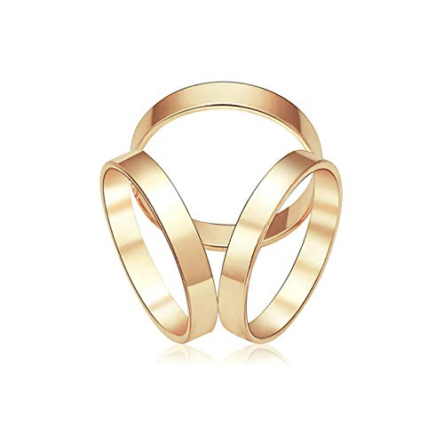 (Trio Scarf Wrap Shawl Gold Silver Ring Silk Buckle Clip Brooch Slide Jewelry | Color - Gold)