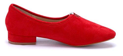 Schuhtempel24 Damen Schuhe Klassische Pumps Blockabsatz Ziersteine 3 cm Rot