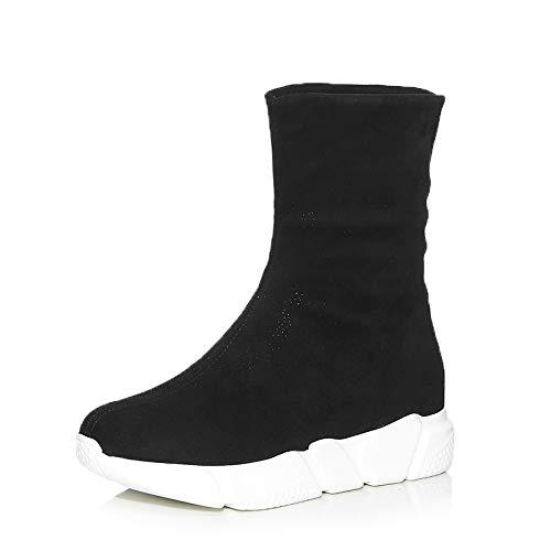 TSNMNB Europa y los Estados Unidos de invierno bizcocho estufa de espesor grueso botas de estiramiento rodilla de las mujeres botas de gamuza de cuero más botas altas de terciopelo, 39, tubo corto neg
