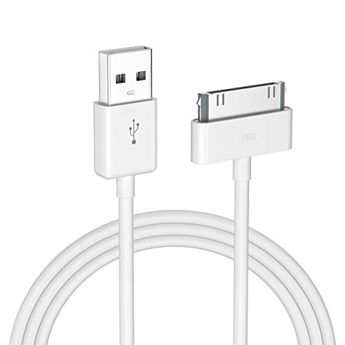 POWERADD Apple Certified iPhone 4 4s 3G 3GS iPad 1 2 3 iPod Touch Nano 30 Pin Charger USB Sync Cable Charging Cord Dock Adapter Data 4 Feet White (Old Charger Ipod Nano)