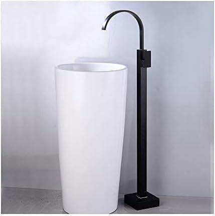 自立式の浴槽の蛇口、黒真鍮の浴槽フィラーセットフロアマウントシングルハンドルバスルームシャワーミキサータップホテル、バスルーム用,Waterfall water a