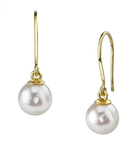14K Gold White Freshwater Cultured Pearl Linda Earrings - AAAA (Dangling Pearl Stud)