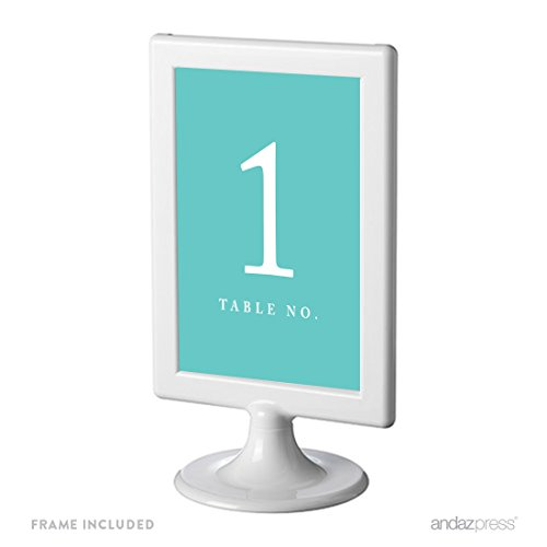 Andaz Press Framed Double-Sided Table Numbers 1-8, Diamond Blue, 1-Set, 4x6-inch, Includes Frames