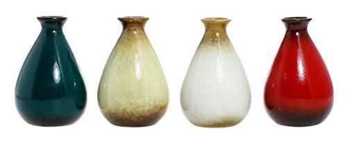 Decorative Ornamental Ceramic Glazed Small Flower Pot Vase, Set of 4 - Red, Brown, White, Blue (Vases Bedroom)
