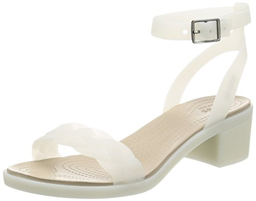 Crocs Womens Isabella Block Heel W Wedge Sandal Oyster At53xZvhC