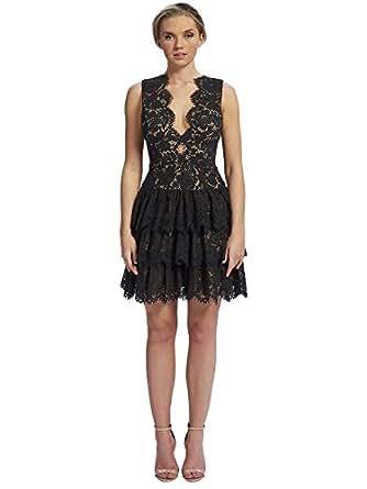 Forever Unique Lace Rara Mini Dress for Women - Black 12 UK