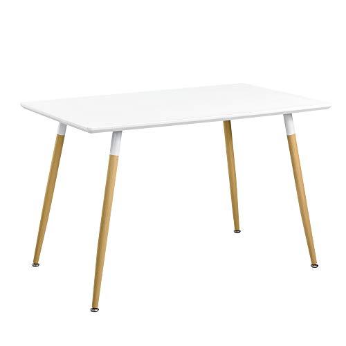 [en.casa] Mesa de Comedor para 4 Personas [120x70cm] Mesa de Cocina Rectangular Blanca