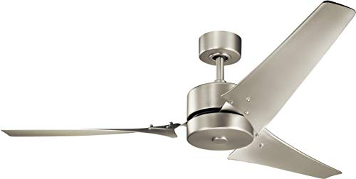 - KICHLER 330010NI Protruding Mount, 3 Nickel Blades Ceiling fan, Brushed Nickel