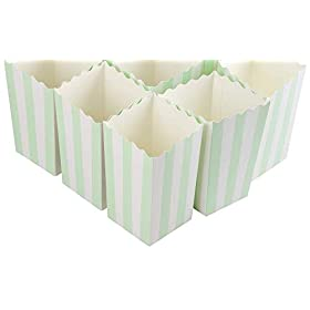 50 Pieces Mint Green Stripe Popcorn Boxes Paper Mini Popcorn Containers Candy Snack Party Favor Boxe
