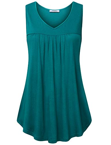 Youtalia Tunic Tops for Leggings for Women, Ladies Sleeveless Elegant V Neck Blouses Flare Tank Top Dark Cyan Medium ()