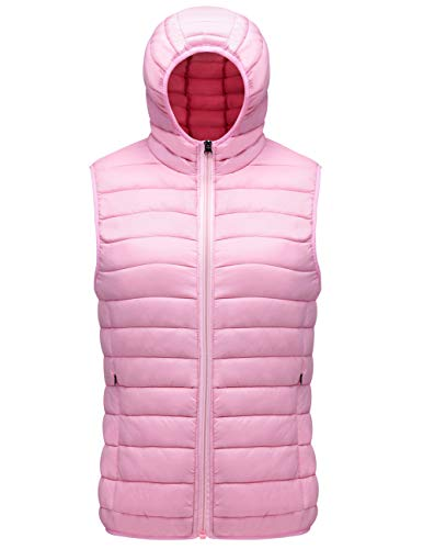 SUNDAY ROSE Sleeveless Jacket Womens Lightweight Packable Puffer Down Vest Jacke Hooded Pink - Size M