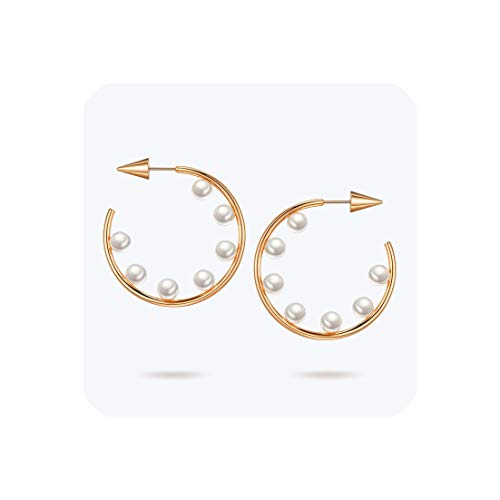 Pearl Hoop Earrings Gold Color Hoops Circle Earring Women Stainless Steel Earrings,Rose Gold color