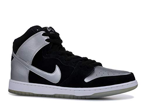 NIKE Men's Dunk High Pro SB, Black/Metallic Silver/Black, 12 M US ()