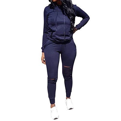 Sweatsuit Navy - Fantasy Closet Women's 2 Pieces Outfits Long Sleeve Top and Long Pants Sweatsuits Set Tracksuits Navy, Large
