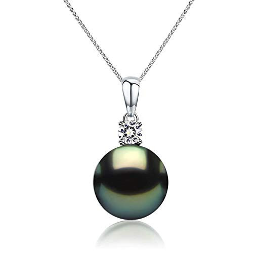 (CHAULRI Real 18K Gold 9-11mm Tahitian Black Pearl Pendant Necklace with 18 Inch 18K Gold Chain - Jewelry Gifts for Women (White-Gold) (10.0mm))