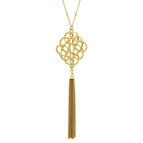 Gold Collection Jewelry (Rosemarie Collections Women's Celtic Knot Tassel Long Pendant Necklace (Gold Color))