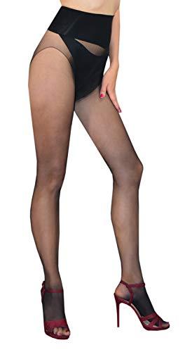 5aa44250ff3ce Theron - Seamless Sheer Pantyhose Wide Waistband (Black)