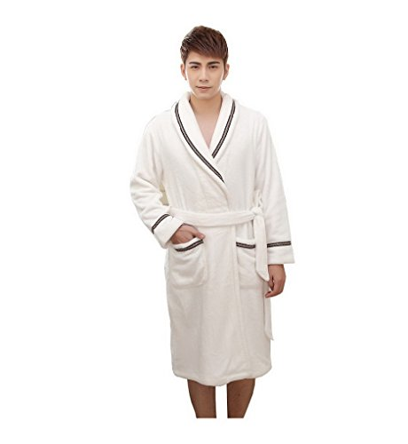 Buy mens waffle dressing gown white - 9