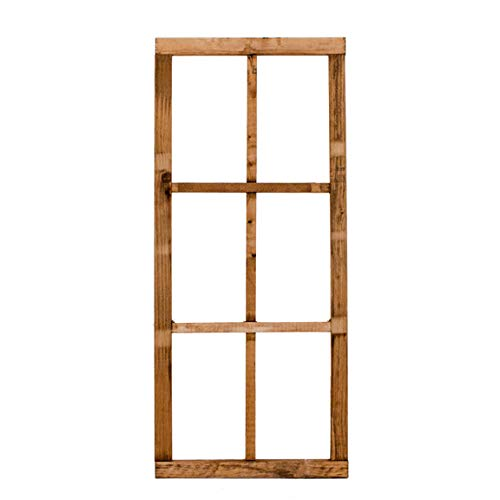 Direct 6 Panel Rustic Wood Window Frame That Hangs Vertical or Horizontal for Rustic Farmhouse Wall Decoration (Wood Window Frame)