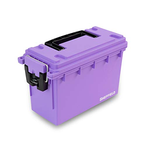 Sheffield 12632 Field Box | Great for Arts & Crafts Supplies, Small Toy Bin or Most Anything| Safe & Tamper-Proof with 3 Locking Options | Stackable & Water Resistant | Purple | U.S.A. Made