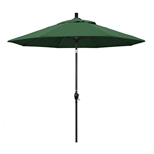 California Umbrella 9' Round Aluminum Market Umbrella, Crank Lift, Push Button Tilt, Black Pole, Hunter Green Olefin