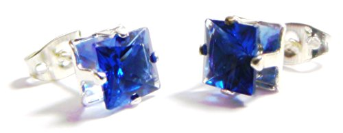 6mm Blue Square Shape Cubic Zirconia CZ Crystal Stud Earrings, Silver Plated (Blue Button Earring)