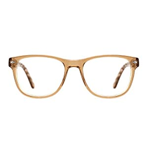 TIJN Semi-Transparent Wayfarer Acetate Eyeglasses Frame Zebra Arm
