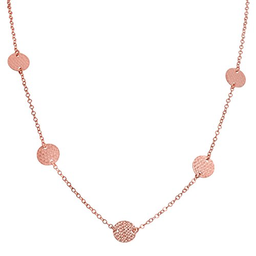 14k Rose Gold Diamond-cut Disc Station Adjustable Necklace (fits 17'' to 18'') by Kooljewelry
