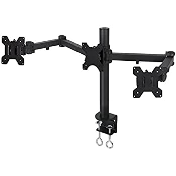 """EZM Articulating Triple LCD/LED/PLASMA/Flat Panel Monitor Mount Stand Desktop Clamp Holds up to 24""""(002-0010)"""