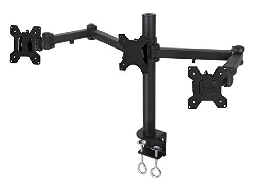 "EZM Articulating Triple LCD/LED/PLASMA/Flat Panel Monitor Mount Stand Desktop Clamp Holds up to 24""(002-0010)"