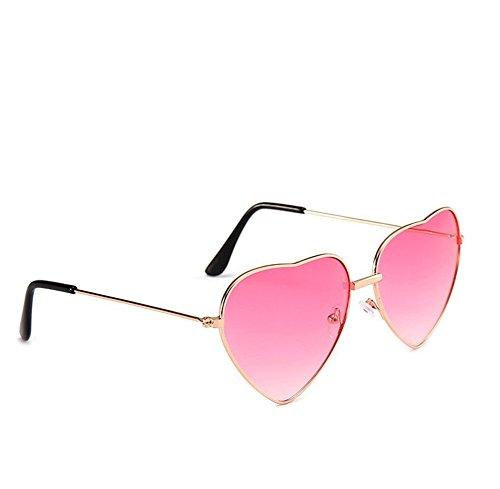 Mujer Verano Gafas de Lentes de corazón de y Sol Gafas de de Hustar para Sol Viajar Forma con Rojo para Colores xOqInwT