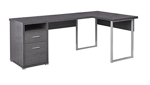 (Monarch Specialties I 7257 Computer Desk Left or Right Facing Grey 80