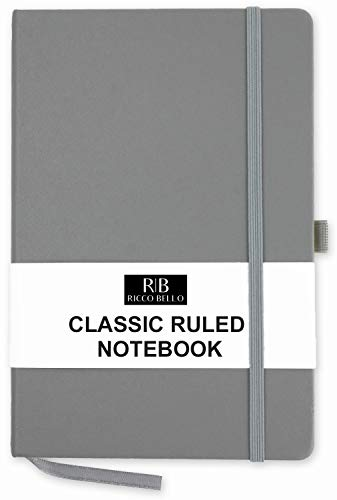 RICCO BELLO A5 Classic College Ruled Banded Notebook, Pen Loop, 192 pages, 5.7 x 8.4 inches (Grey) ()
