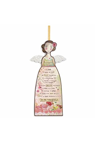 DEMDACO Permission Granted Angel Floral Pink 19 x 9 Wood and Ribbon Decorative Hanging Ornament