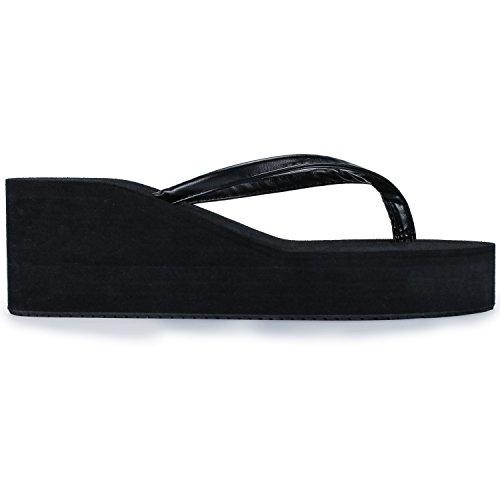 Difyou Womens Wedge Thong Anti-Slip Beach Sandals Flip Flops