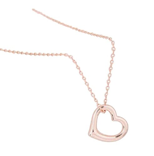 Mirabella BellaMira 14K Rose Gold Open Heart Pendant Necklace Jewellery for Women Girls Gift Boxed (Small Heart Necklace) ()