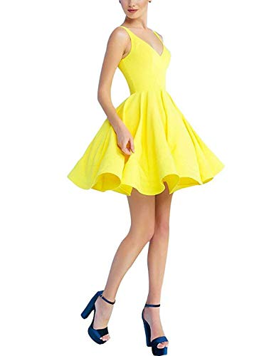 Short Prom Gowns 2019 Satin A-line V Neck Cocktail Homecoming Dresses for Women Yellow 16 ()